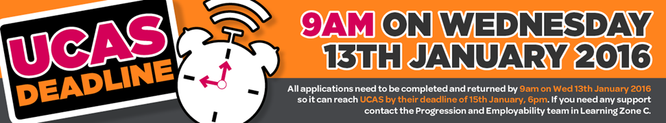 UCAS Internal Deadline - Friday 23rd October at 6pm!